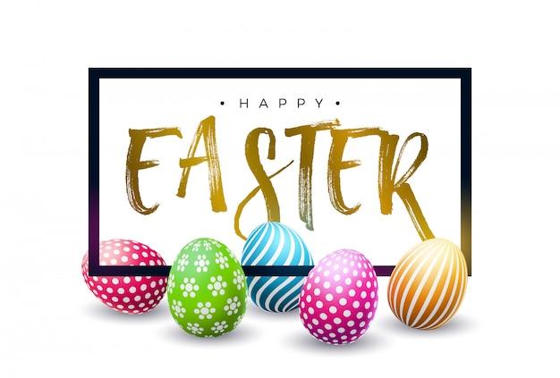 Feliz páscoa design com ovo colorido