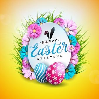 Feliz páscoa design com ovo e flor de primavera
