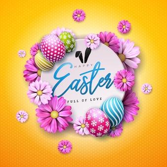 Feliz páscoa design com ovo pintado e flor de primavera