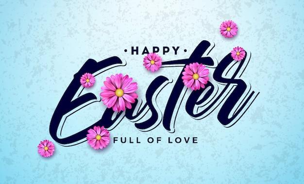 Feliz páscoa design de férias com flor de primavera colorida