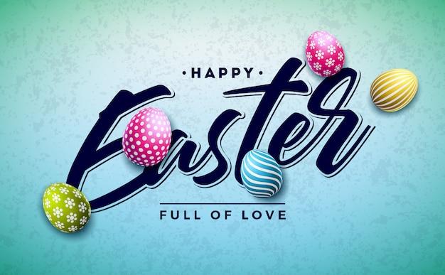 Feliz páscoa design de férias com ovo pintado colorido
