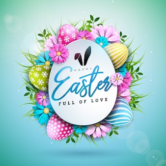 Feliz páscoa design de férias com ovo pintado e flor