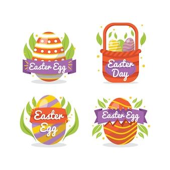 Feliz páscoa dia design plano distintivo com ovos coloridos e folhas
