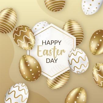 Feliz páscoa dia dourado e ovos brancos