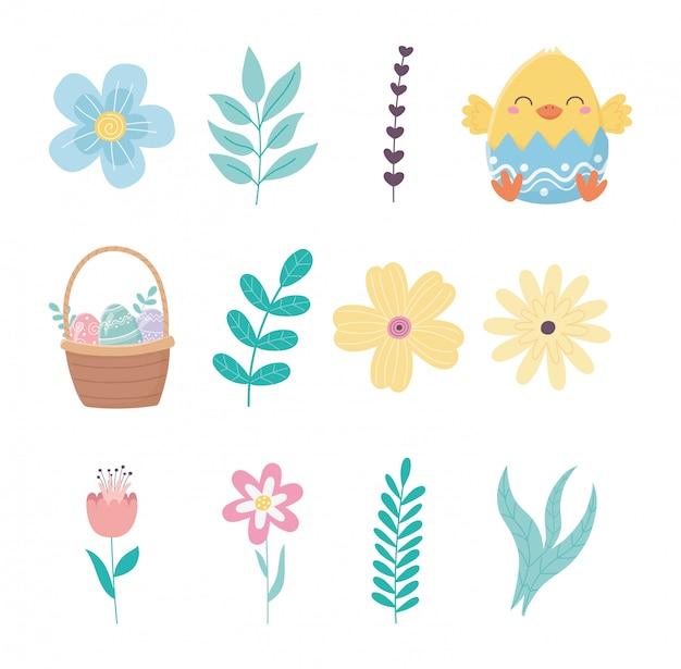 Feliz páscoa dia frango casca de ovo flores cesta elementos conjunto