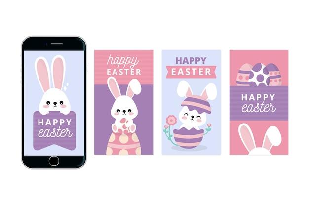 Feliz páscoa dia instagram histórias com jovem coelho