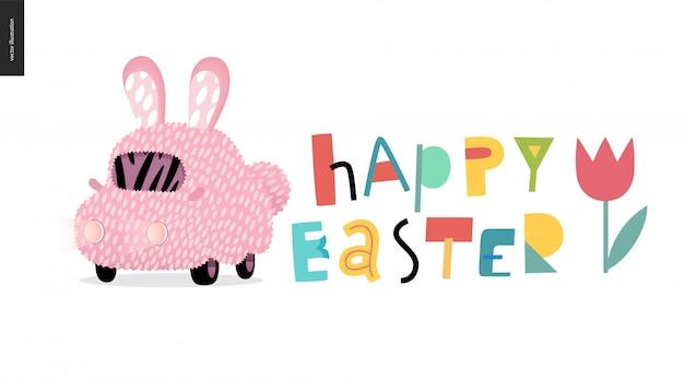 Feliz páscoa e carro de coelho