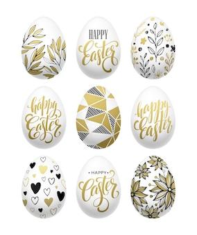 Feliz páscoa. efeito de ovo dourado de letras caligráficas. ilustração vetorial eps10