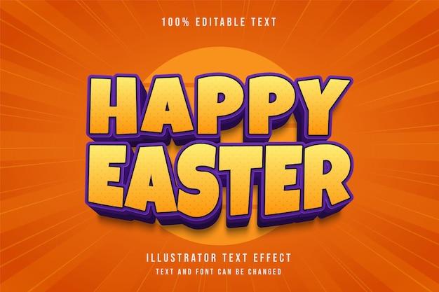 Feliz páscoa, efeito de texto editável gradação amarela e roxo sombra em quadrinhos estilo de texto