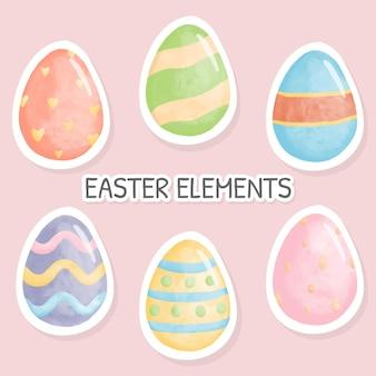 Feliz páscoa em aquarela com ovo de páscoa