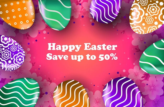 Feliz páscoa feriado celebração venda banner flyer ou cartão com ilustração horizontal de ovos decorativos