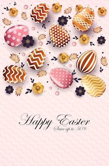 Feliz páscoa feriado celebração venda banner flyer ou cartão com ilustração vertical de ovos decorativos