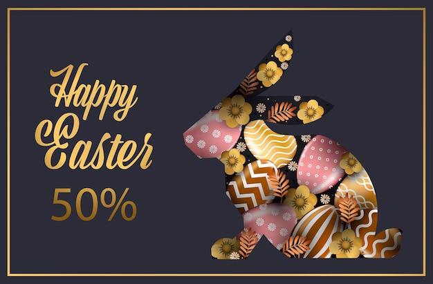 Feliz páscoa feriado celebração venda banner flyer ou cartão com ovos decorativos em forma de coelho ilustração horizontal