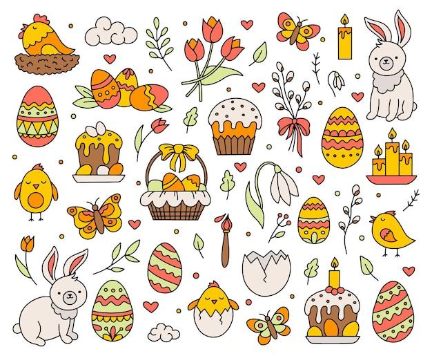 Feliz páscoa feriado conceito conjunto de ilustração de ícones