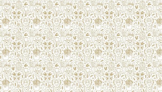 Feliz páscoa feriado doodle linha arte desenho dourado coelho coelho cruz cristão bolo frango
