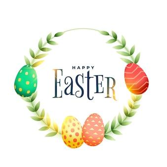 Feliz páscoa folhas e design de cartão de quadro de ovos