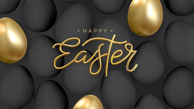 Feliz páscoa fundo abstrato com ovos dourados e pretos realistas