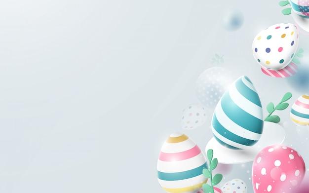 Feliz páscoa fundo com composição de ovos de páscoa.