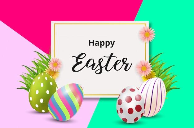 Feliz páscoa fundo com ovos coloridos