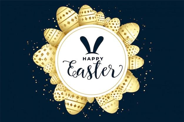Feliz páscoa fundo de celebração com moldura de ovos