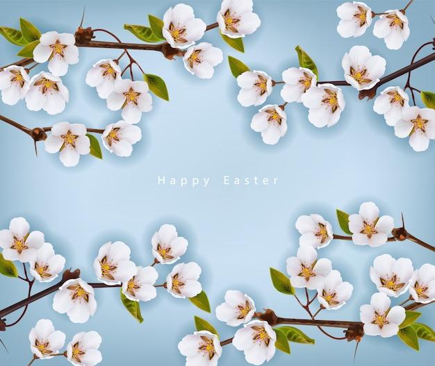 Feliz páscoa. fundo de flores de cerejeira