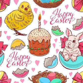 Feliz páscoa. fundo de páscoa sem costura bonito com coelhos e galinhas. ilustração desenhada à mão