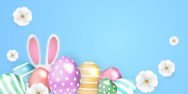 Feliz páscoa fundo. ovos de coelho decorados