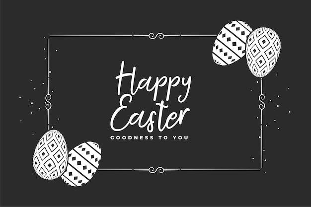 Feliz páscoa, fundo preto com ovos