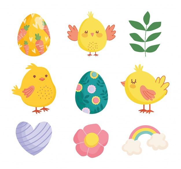 Feliz páscoa galinhas bonitos ovos flor coração arco-íris decoração