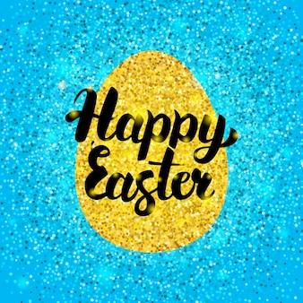 Feliz páscoa glitter design. ilustração em vetor de cartão postal de saudação de férias de primavera com caligrafia.