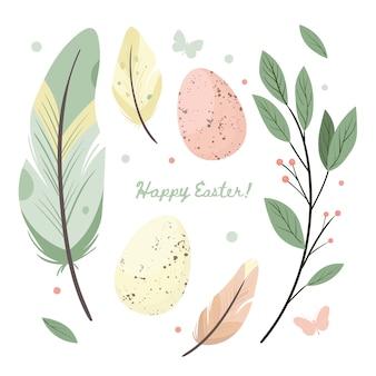 Feliz páscoa. grupo de ovos da páscoa com textura diferente do ponto e flor selvagem em um fundo branco. férias de primavera. ilustração