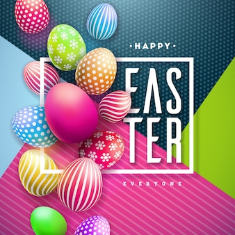 Feliz páscoa ilustração com ovo pintado colorido