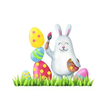 Feliz páscoa. ilustração em estilo infantil coelho branco pinta ovos na grama