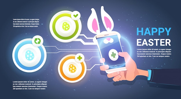 Feliz páscoa infográfico fundo com mão segure o telefone inteligente com orelhas de coelho sobre elementos do modelo