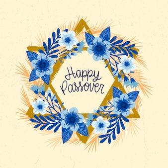 Feliz páscoa judaica tradicional evento mão desenhada