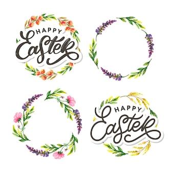 Feliz páscoa letras de mão com conjunto de guirlanda floral