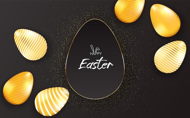 Feliz páscoa letras fundo com brilho dourado realista decorado ovos, partículas de ouro.