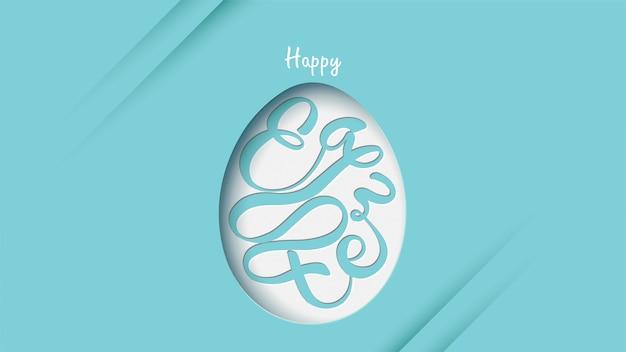 Feliz páscoa lettering fundo em forma de ovo
