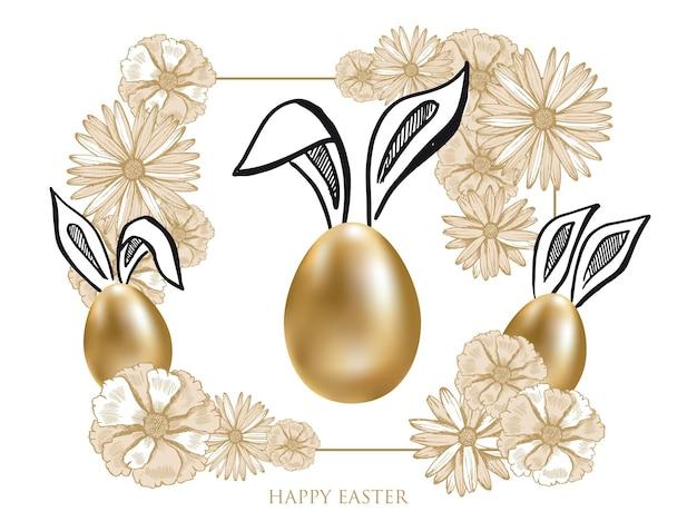 Feliz páscoa, orelhas de coelho, ovos dourados, estilo desenhado à mão