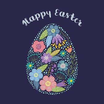 Feliz páscoa. ovo bonito dos desenhos animados isolados com design floral com texto. vetor