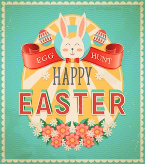 Feliz páscoa ovo caça poster vintage