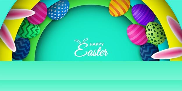 Feliz páscoa. ovo de páscoa colorido e orelhas de coelho