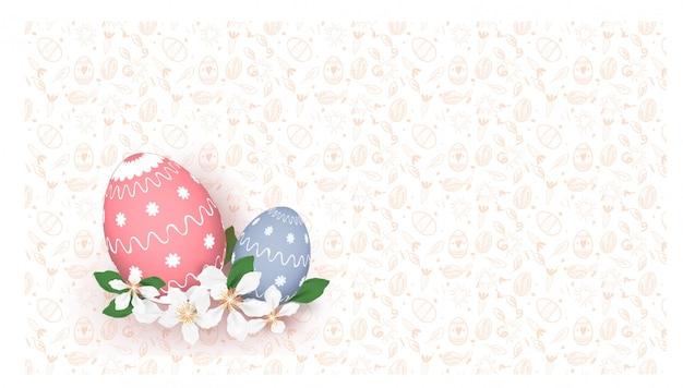 Feliz páscoa ovos coloridos fundo