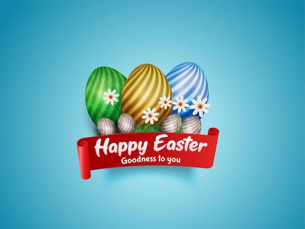 Feliz páscoa. ovos em fita com flores brancas isoladas