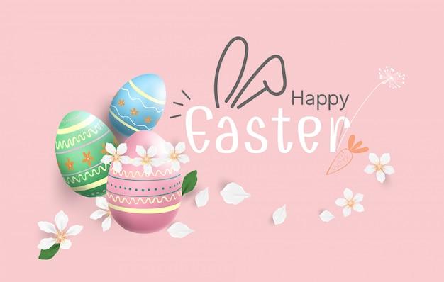 Feliz páscoa ovos fundo colorido