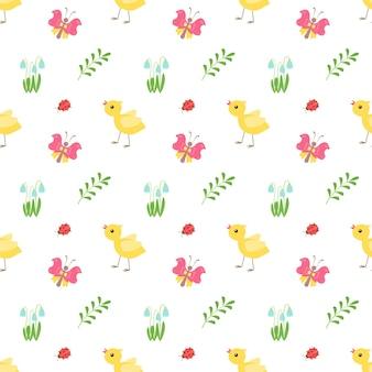 Feliz páscoa. padrão sem emenda de decoração festiva com frango, galhos. elementos para papel de embrulho, impressão. ilustração em vetor plana