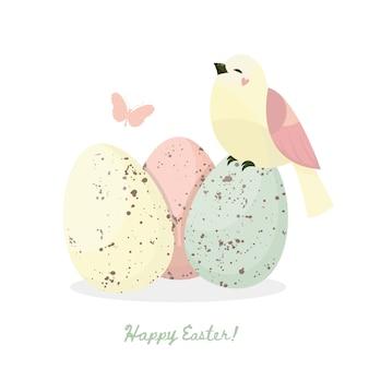 Feliz páscoa. pássaro, folhas e ovos de páscoa com textura diferente local sobre um fundo branco. férias de primavera. ilustração