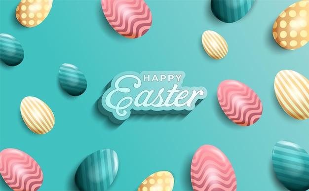 Feliz páscoa realista com ovos em estilo 3d