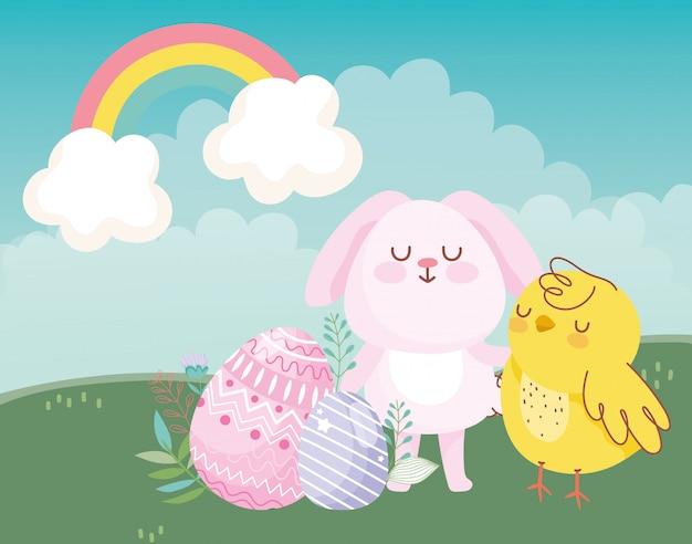 Feliz páscoa rosa coelho galinha ovos arco-íris decoração