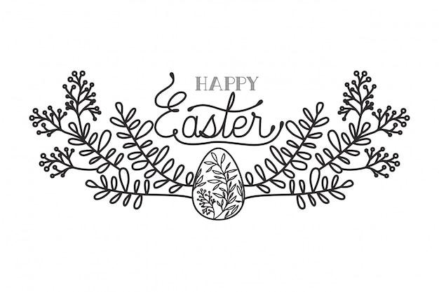 Feliz páscoa rótulo isolado ícone
